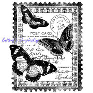 BUTTERFLY Postage Collage Cling Unmounted Rubber Stamp MAGENTA C40327-N NEW