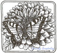 Butterfly Swallowtail Zinnia Wood Mounted Rubber Stamp NORTHWOODS PP8969 New