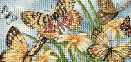 Butterfly Vignette Gold Collection Petites Dimensions Cross Stitch Kit 8x4 NEW