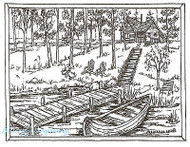 Cabin Dock Canoe Scene Wood Mounted Rubber Stamp Northwoods Rubber Stamp New