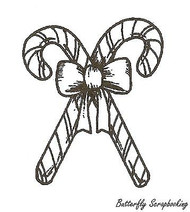 Candy Canes And Bow, Wood Mounted Rubber Stamp NORTHWOODS - NEW, C9658