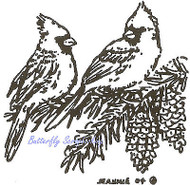 Cardinal Birds Pinecones Branch Wood Mounted Rubber Stamp NORTHWOODS CC7675 New