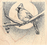 Cardinal On Branch With Moon Wood Mounted Rubber Stamp IMPRESSION OBSESSION New