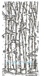 Cardinals On A Birch Tree, Wood Mounted Rubber Stamp NORTHWOODS - O8887