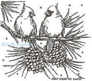 Cardinals On Pine Branch, Wood Mounted Rubber Stamp NORTHWOODS - NEW, CC8301