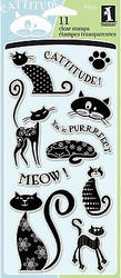 CAT CATS CATTITUDE Clear Unmounted Rubber Stamp Set INKADINKADO 97621 NEW
