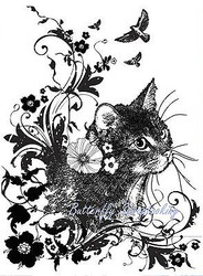 CAT Flower Flourish Cling Unmounted Rubber Stamp IndigoBlu Stamp INDO175 NEW