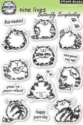 CAT Nine Lives Stamp Set Clear Unmounted Rubber Stamp Set PENNY BLACK 30-050 New