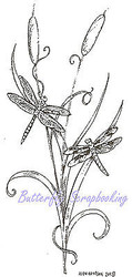 Catails & Dragonfly Wood Mounted Rubber Stamp NORTHWOODS Rubber Stamp J8079 New