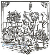 Cats And Rocker On Porch Wood Mounted Rubber Stamp Northwoods Rubber Stamp New