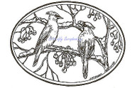 Cedar Waxwing Bird Nature Wood Mounted Rubber Stamp Northwoods Rubber Stamp New