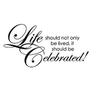 Celebrate Life Text, Wood Mounted Rubber Stamp PENNY BLACK - NEW, 4069F