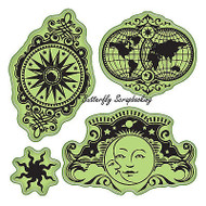Celestrial Set Stamping Gear 4 Unmounted Cling Rubber Stamp Set Inkadinkado New