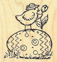 Chick With Tulip On Egg, Wood Mounted Rubber Stamp NORTHWOODS - NEW, F6990