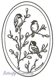 Chickadee Oval, Wood Mounted Rubber Stamp NORTHWOODS - NEW, M3605