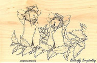 Christmas Angels HOUSE MOUSE Wood Mounted Rubber Stamp STAMPENDOUS, NEW - HMP19