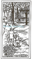 Christmas Bringing Tree Wood Mounted Rubber Stamp Northwoods Rubber Stamp New