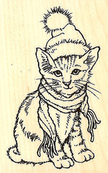 Christmas CAT Bundled Kitty Wood Mounted Rubber Stamp STAMPENDOUS Stamp M319 New