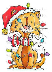 CHRISTMAS CAT Cling Unmounted Rubber Stamp Whipper Snapper Designs CY684 NEW