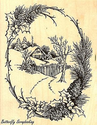Christmas Cottage, Wood Mounted Rubber Stamp STAMPENDOUS, NEW - R214