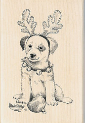 Christmas Holiday Puppy Dog Wood Mounted Rubber Stamp by Inkadinkado NEW