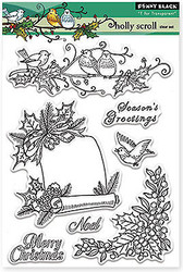 Christmas Holly Stamps Clear Unmounted Rubber Stamp Set PENNY BLACK 30-253 New