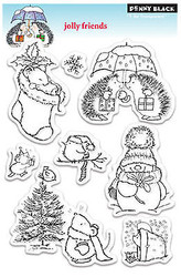 Christmas Jolly Friends Clear Unmounted Rubber Stamp Set PENNY BLACK 30-058 New
