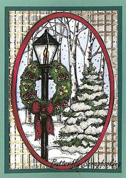 CHRISTMAS LAMP POST TREES Scene Wood Mounted Rubber Stamp NORTHWOODS P9903 New