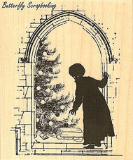 Christmas Morning, Wood Mounted Rubber Stamp IMPRESSION OBSESSION - NEW, G13229