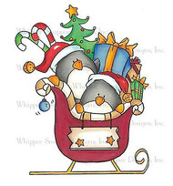 CHRISTMAS PINGUIN SLEIGH Unmounted Rubber Stamp Whipper Snapper Design MY985 NEW