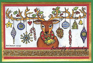 CHRISTMAS REINDEER ORNAMENTS Wood Mounted Rubber Stamp NORTHWOODS O9887 New
