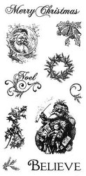 Christmas Santa Believe Unmounted Red Rubber With Cling Foam Stamps Set C9 New