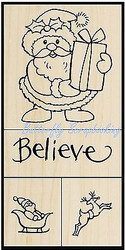 CHRISTMAS SANTA SET 4 Wood Mounted Rubber Stamp Set STAMPENDOUS SWS058 NEW