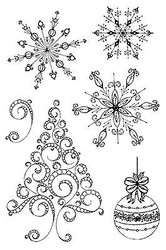 Christmas Snowflakes Winter Unmounted Rubber Stamps Set Impression Obsession NEW