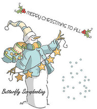Christmas SNOWMAN Cling Unmounted Rubber Stamps Set AI Art Impressions 4517 NEW