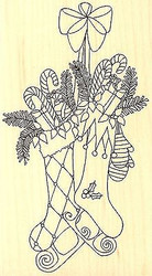 CHRISTMAS STOCKINGS Wood Mounted Rubber Stamp Impression Obsession F2354 NEW