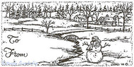 Christmas Tag Snowman Scene Wood Mounted Rubber Stamp Northwoods Rubber Stamp Ne