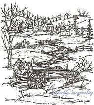 Christmas Wagon And Stream, Wood Mounted Rubber Stamp NORTHWOODS - NEW, P2917