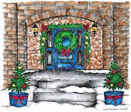 CHRISTMAS WINTER HOUSE DOOR Scene Wood Mounted Rubber Stamp NORTHWOODS P9904 New