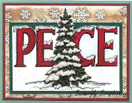 CHRISTMAS Winter Pine Tree PEACE Wood Mounted Rubber Stamp NORTHWOODS P9902 New