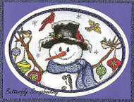 CHRISTMAS WINTER SNOWMAN ORNAMENT Wood Mounted Rubber Stamp NORTHWOODS P9865 New