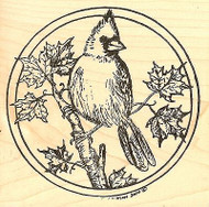 Circle Fall Cardinal, Wood Mounted Rubber Stamp NORTHWOODS - NEW, PP4767