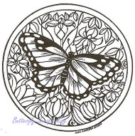 Circle Monarch And Flower, Wood Mounted Rubber Stamp NORTHWOODS - NEW, M4597