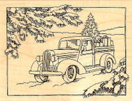 Classic Truck Pine Trees Gifts Wood Mounted Rubber Stamp STAMPENDOUS R186 New