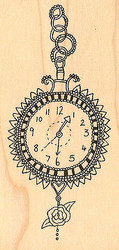 Clock Wood Mounted Rubber Stamp Impression Obsession Hannah Davies NEW