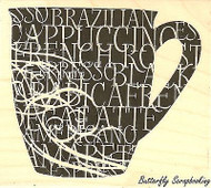 Coffee Cup & Words, Wood Mounted Rubber Stamp IMPRESSION OBSESSION - NEW, E13237