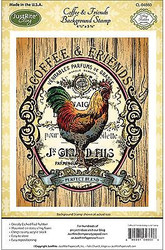 COFFEE FRIENDS ROOSTER Cling Unmounted Rubber Stamp by JustRight CL-04860 NEW