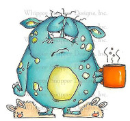 COFFEE MONSTER MORNING Unmounted Rubber Stamp Whipper Snapper Designs MY669 NEW