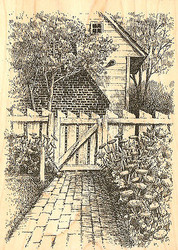 Colonial Spring Garden Wood Mounted Rubber Stamp Impression Obsession NEW