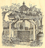 Colonial Well Scene Wood Mounted Rubber Stamp Impression Obsession NEW